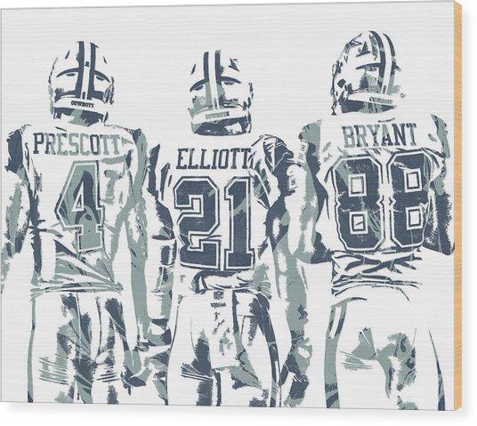 Dez Bryant Ezekiel Elliott Dak Prescott Dallas Cowboys Pixel Art Wood Print