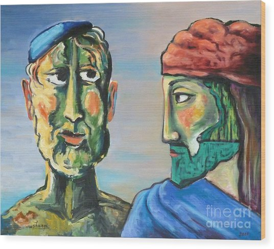 Dialogue Wood Print by Ushangi Kumelashvili