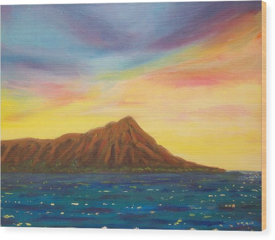 Diamond Head Crater Wood Print