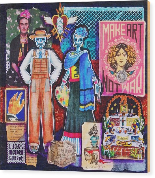 Diego And Frida Wood Print by Candy Mayer