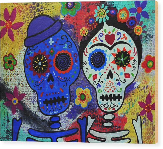 Diego Rivera And Frida Kahlo Dia De Los Muertos Wood Print