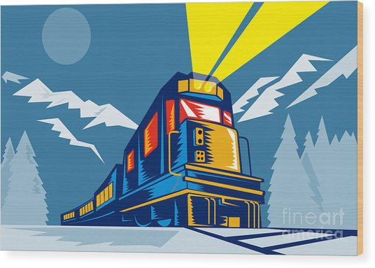 Diesel Train Winter Wood Print by Aloysius Patrimonio