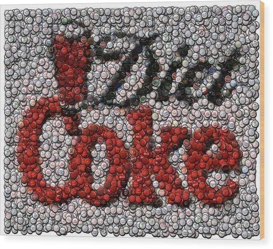 Diet Coke Bottle Cap Mosaic Wood Print