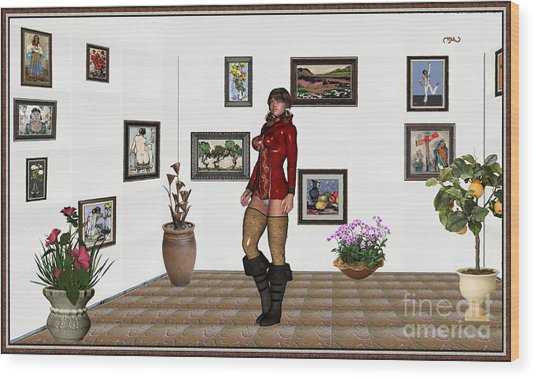 digital exhibition 32  posing  Girl 31  Wood Print