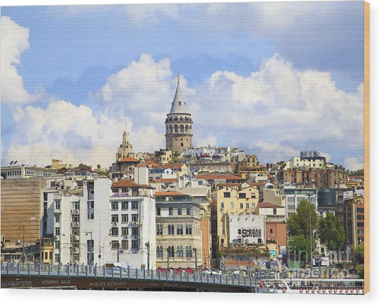 Digital Manipulation Of Galata Tower ,istanbul,turkey. Wood Print