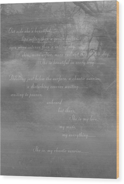 Digital Poem Wood Print