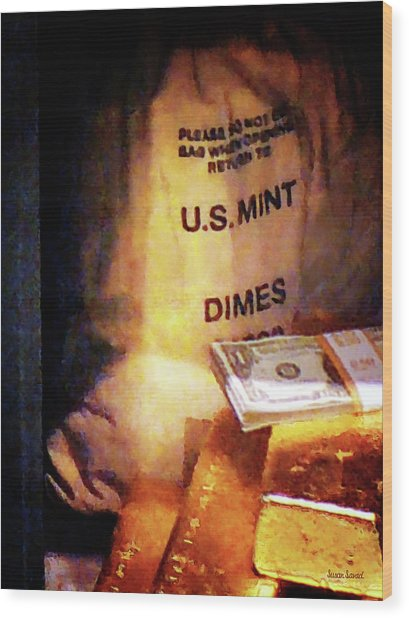 Dimes Dollars And Gold Wood Print