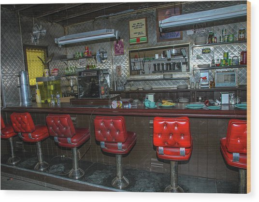 Diner Interior Wood Print