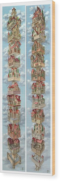 Diptych Air Castles Wood Print