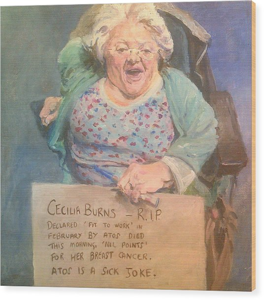 Disability Protester Remembers Cecilia Burns Wood Print