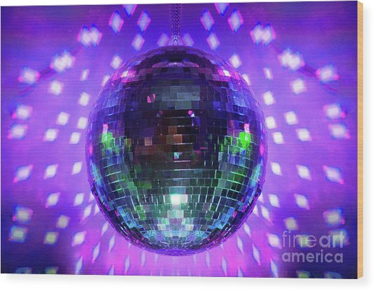 Disco Ball Purple Wood Print