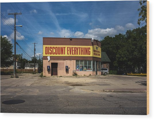 Discount Everything Wood Print by Bryan Scott