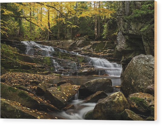 Discovery Falls Autumn Wood Print