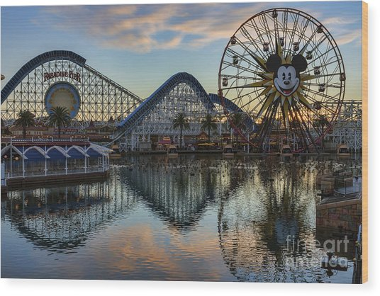 Disney California Adventure Reflections Wood Print