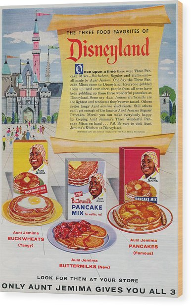 Wood Print featuring the digital art Disneyland And Aunt Jemima Pancakes  by ReInVintaged