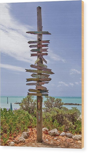 Distance From Key West Wood Print