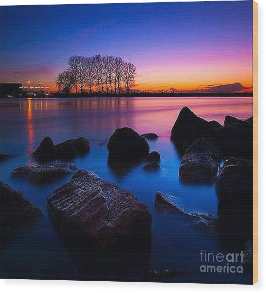 Distant Shores At Night Wood Print