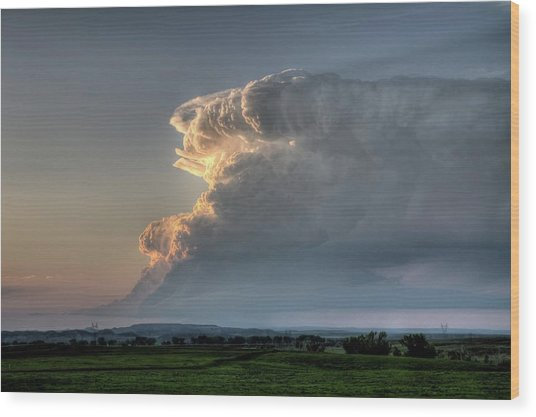 Distant Thunderstorm Wood Print