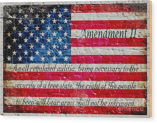 Distressed American Flag And Second Amendment On White Bricks Wall Wood Print