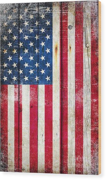 Distressed American Flag On Wood - Vertical Wood Print