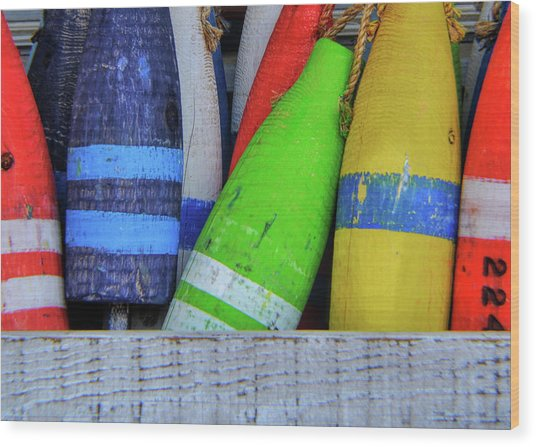 Distressed Buoy Wood Print by JAMART Photography
