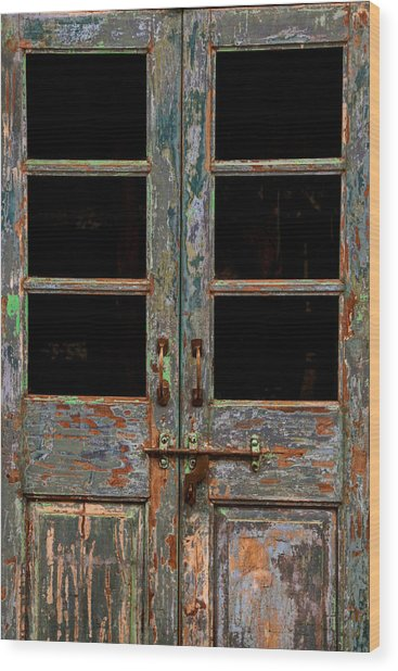 Distressed Doors Wood Print