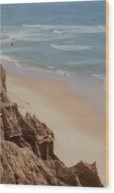 Ditch Plains Surfers Wood Print