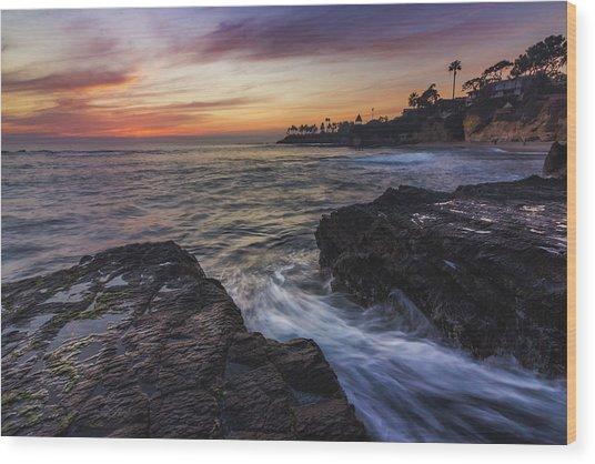 Diver's Cove Sunset Wood Print