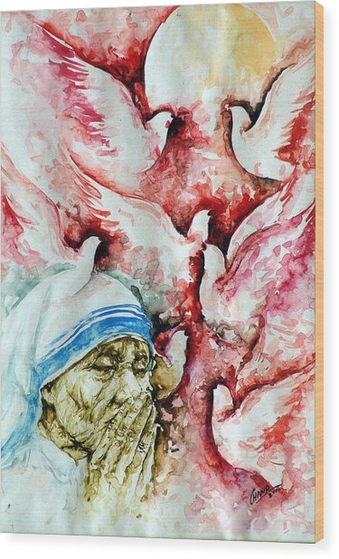 Divine Mother Teresa Wood Print by Pc