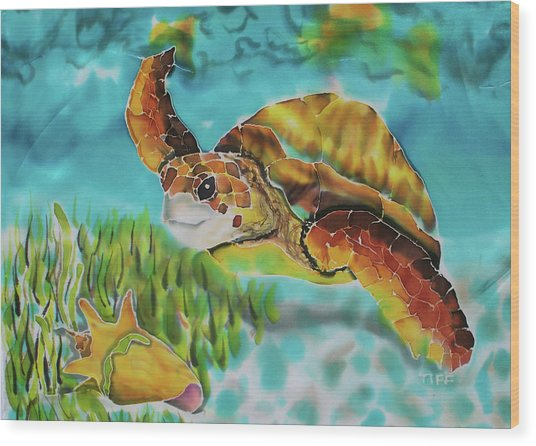 Diving Conch Wood Print