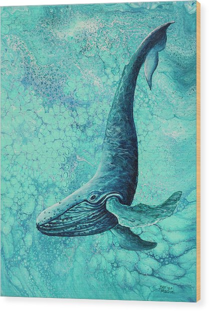 Wood Print featuring the painting Diving Into Blue by Darice Machel McGuire