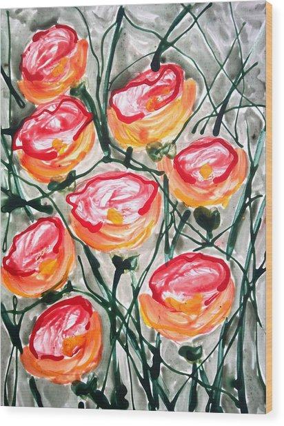 Divne Flowers Wood Print by Baljit Chadha