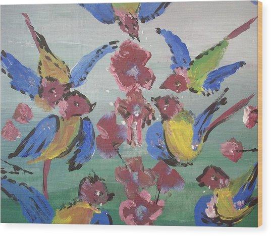Dlyg Birdsong Wood Print by Judith Desrosiers