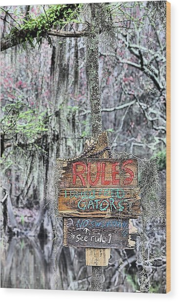 Do Not Feed Gators Wood Print by JC Findley