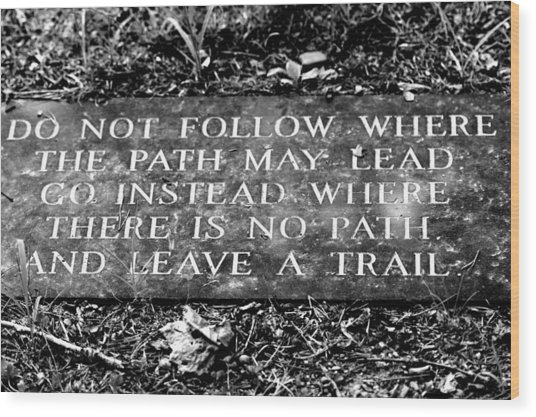 Do Not Follow Where The Path May Lead Wood Print