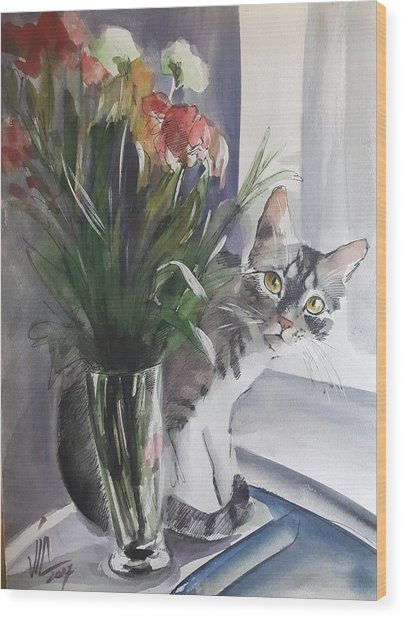 Do You See Me? Pet Portrait In Watercolor .modern Cat Art With Flowers  Wood Print