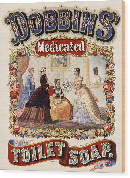 Wood Print featuring the digital art Dobbins Medicated Toilet Soap by ReInVintaged