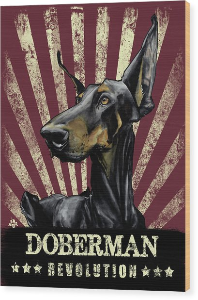Doberman Revolution Wood Print