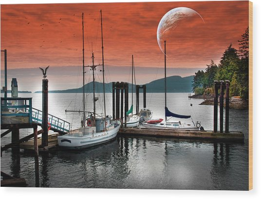 Dock And The Moon Wood Print