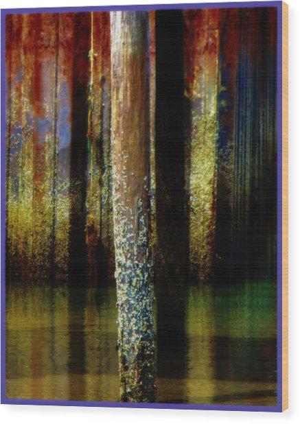 Dock At Low Tide Wood Print