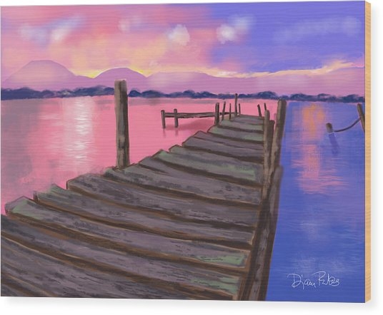 Dock At Sunset Wood Print