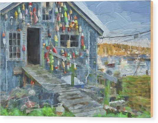 Dock House In Maine II Wood Print by Jon Glaser