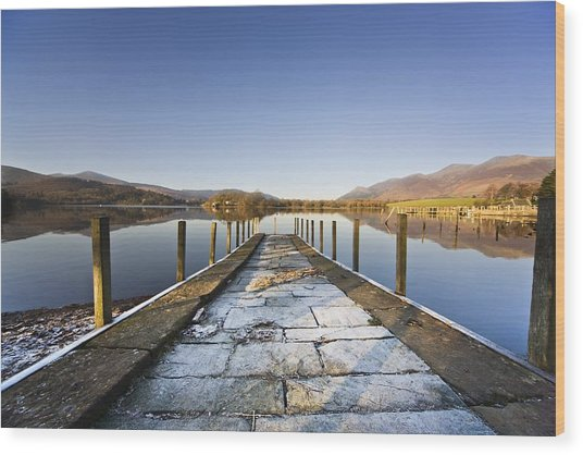 Dock In A Lake, Cumbria, England Wood Print