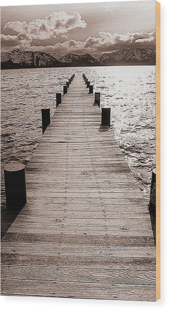 Dock Of Lake Tahoe With Views Of Mount Tallac Wood Print