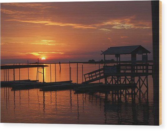 Dock Of The Bay Wood Print by Debbie May