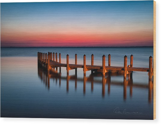 Dock On Currituck Sound 5665 Wood Print