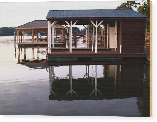 Dock Reflections Wood Print
