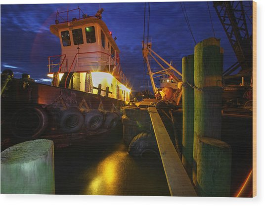 Dock Side Wood Print