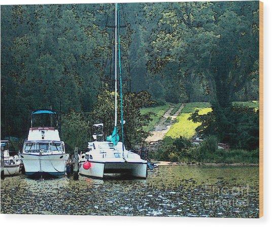 Docked On Chesapeake Bay Wood Print