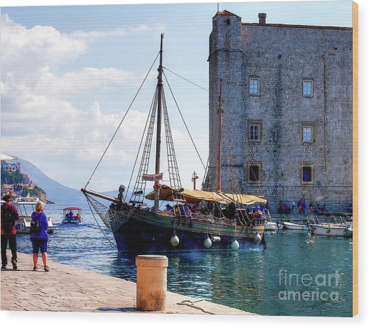 Docking In Dubrovnik Harbour Wood Print